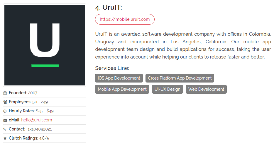 UruIT is recognized as a top app development company