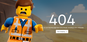 Great microcopy in Lego's 404 page.